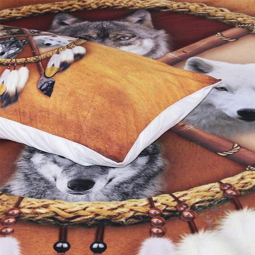 4 Wolves Dreamcatcher Bedding Native American Golden Brown Indian Duvet Cover Vintage Feather Bedding Cover Set Familyloves.com