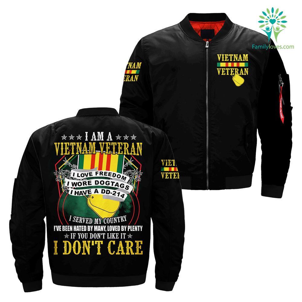 I Am A Vietnam Veteran I Love Freedom I Wore Dogtags I Have A DD-214 over print jacket Familyloves.com