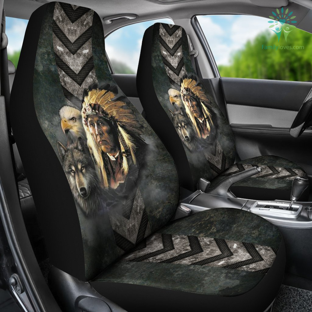 Native American indian eagle wolf spirit animals car seat cover Familyloves.com