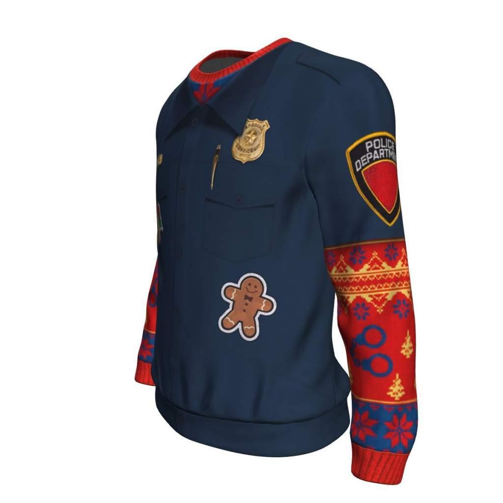 Police Navidad UGLY CHRISTMAS SWEATER Familyloves.com