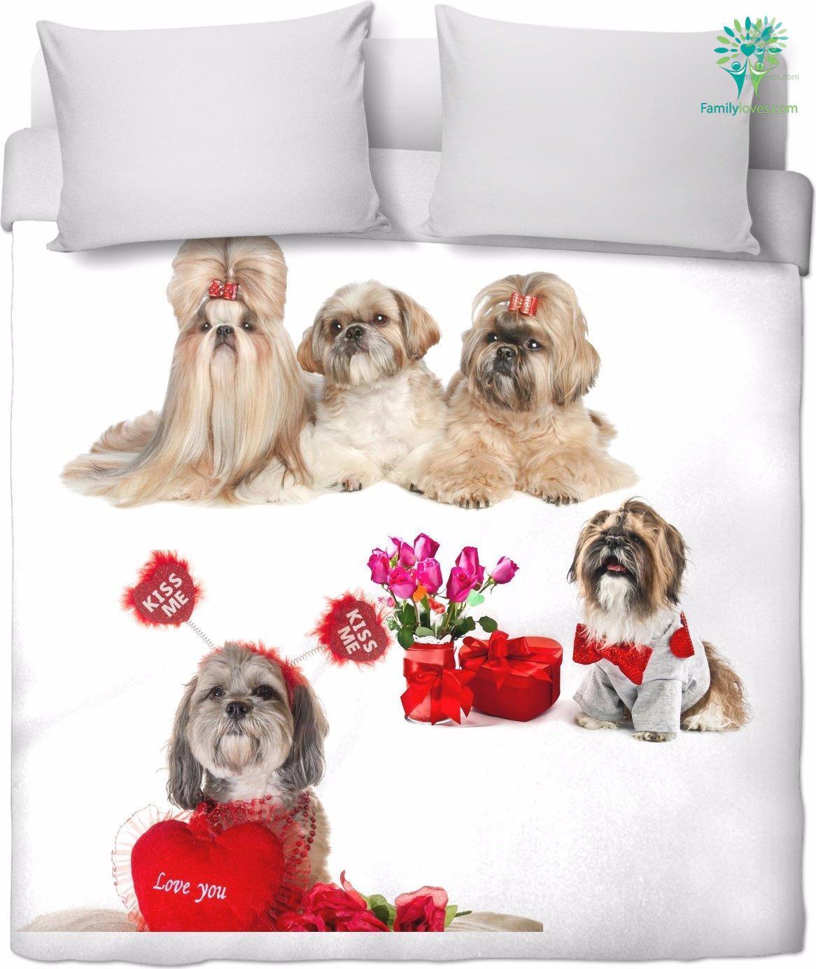 Shih tzu bedding sheet duvet cover handmade and made on-demand Familyloves.com