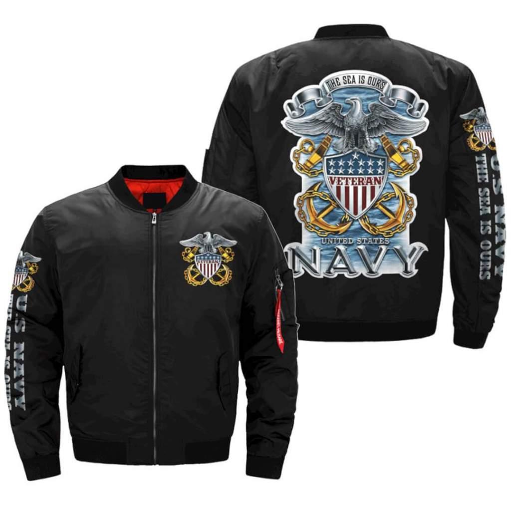 U.S Navy Veteran - The Sea Is Ours jacket v2.0 OVER PRINT JACKET Familyloves.com