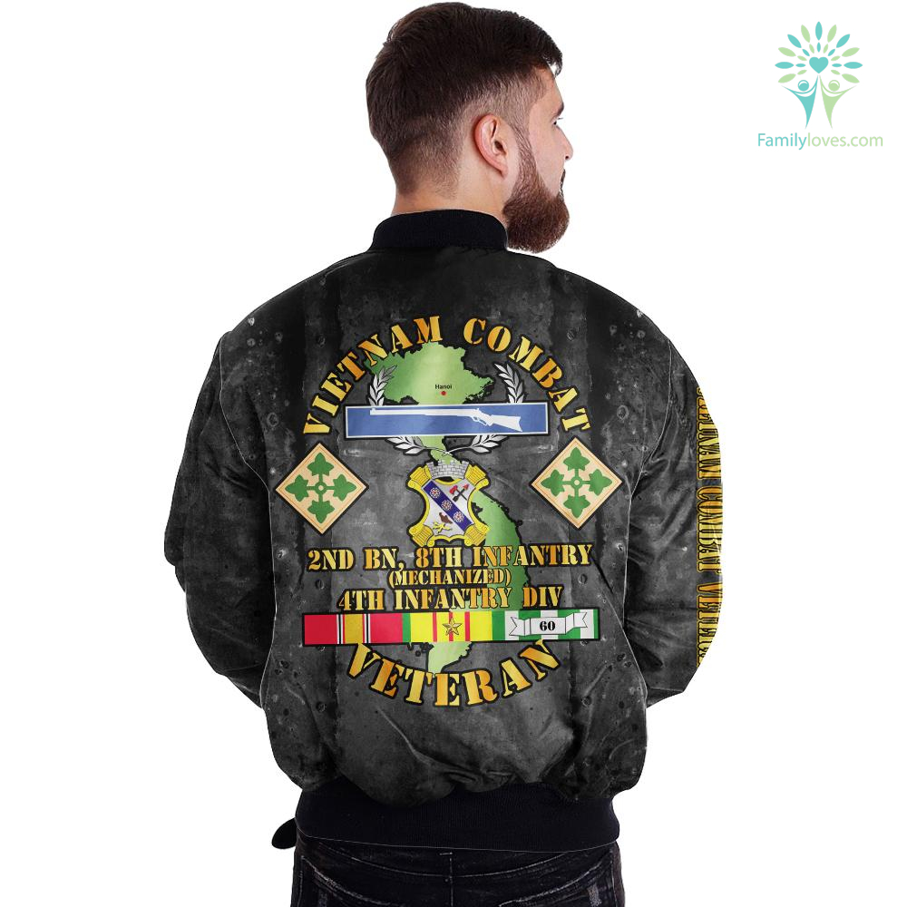 Vietnam veteran combat over print Bomber jacket Familyloves.com