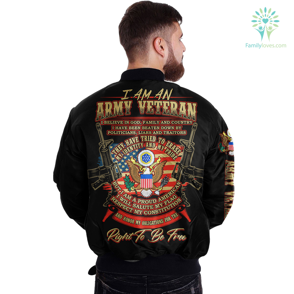 I Am An Army veteran... Over Print Jacket Familyloves.com