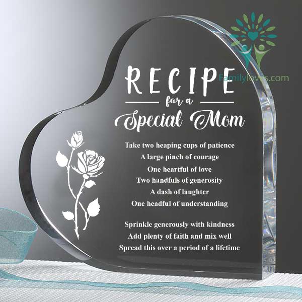 Recipe for a Special Mom Heart Keepsake Familyloves.com