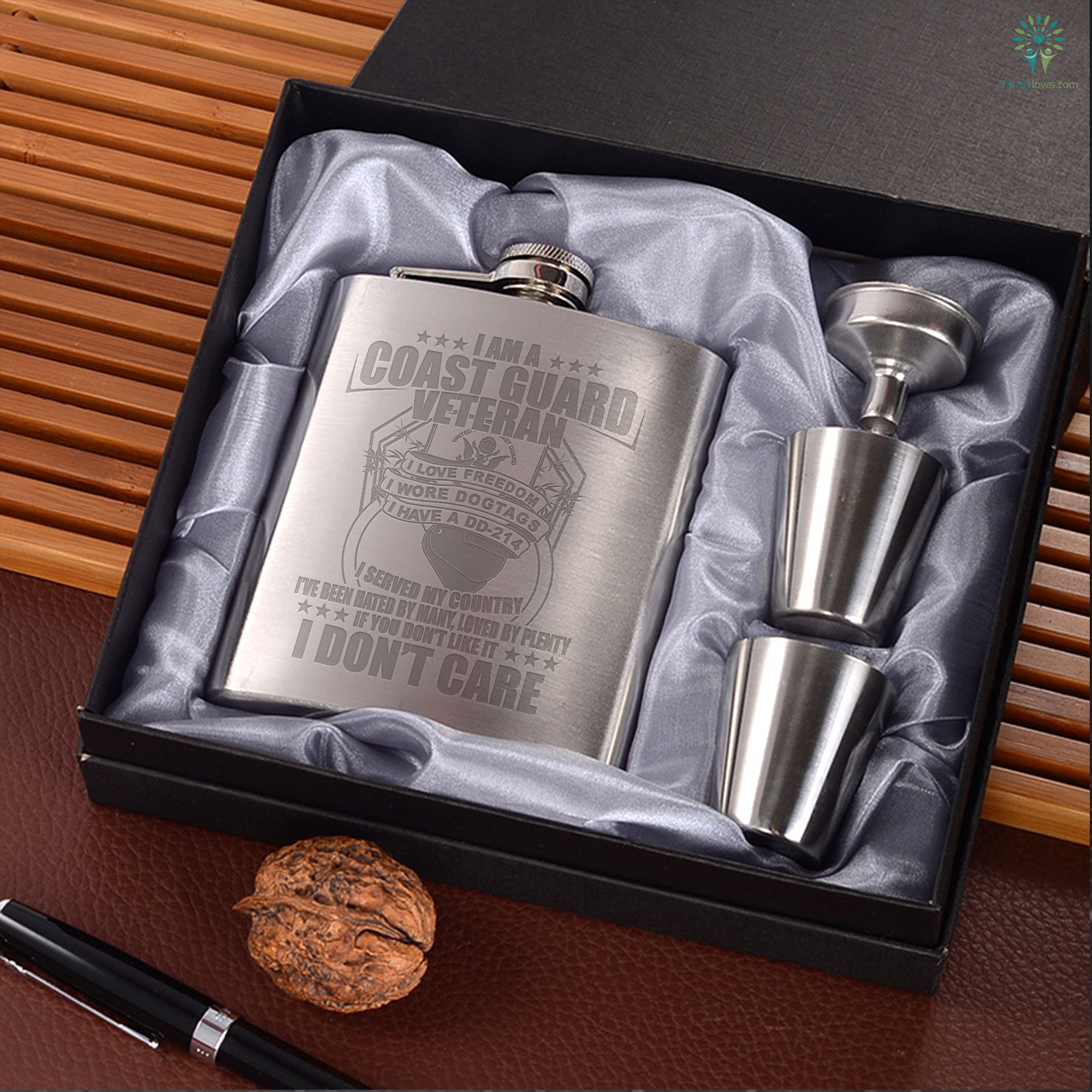 I Am A Coast Guard Veteran... Portable Stainless Steel Wine Familyloves.com