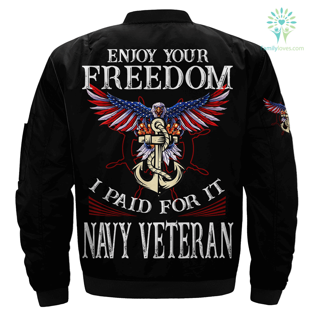 Enjoy your freedom i paid for it navy veteran Over Print Jacket Familyloves.com