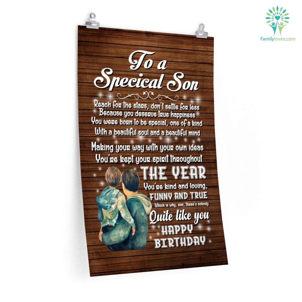 To A Specical Son Reach For The Stars Don't Settle For Less Posters Gifts Letter To My Son From Mom Familyloves.com