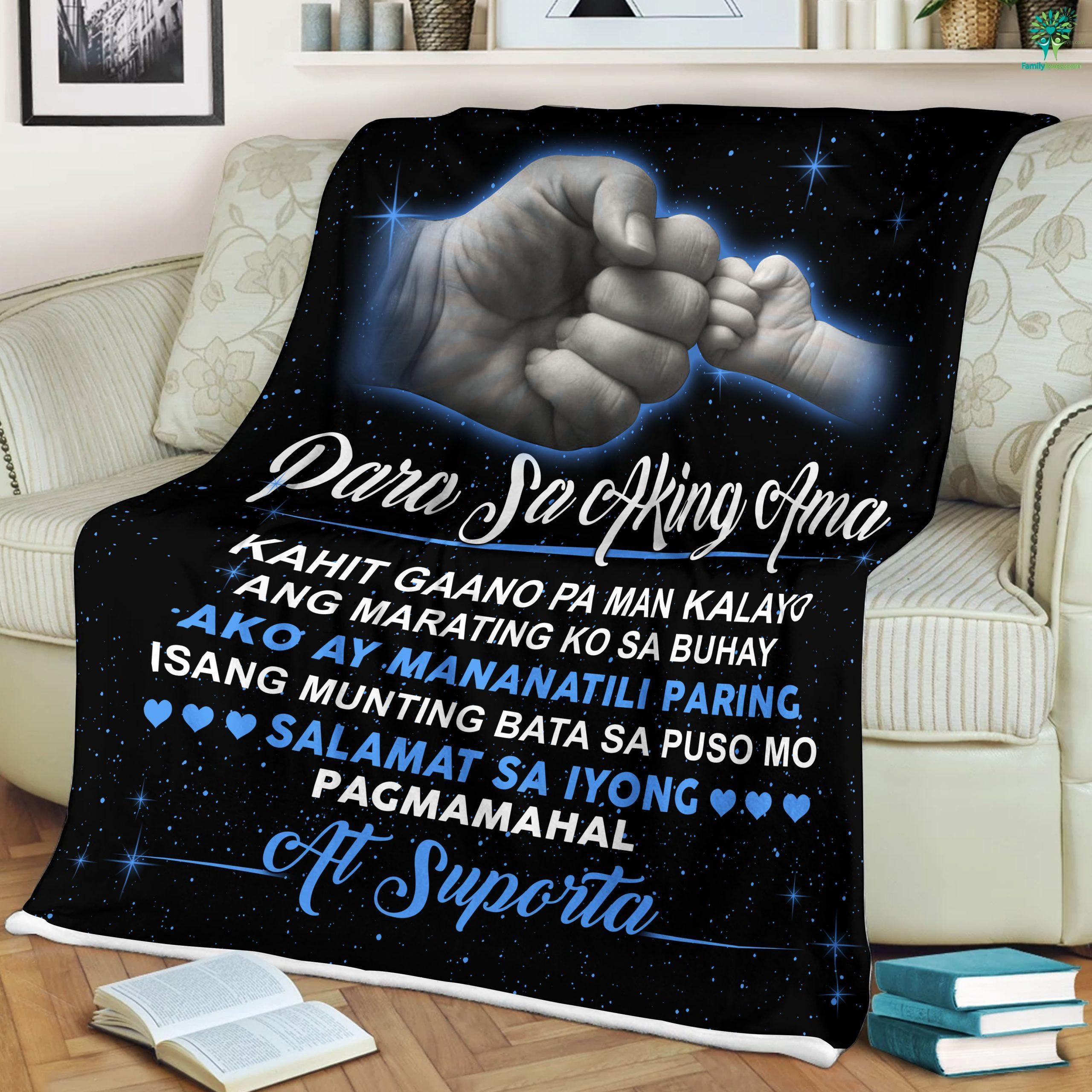 For My Dad Quotes - Para Sa Aking Ama Sherpa Fleece Blanket Familyloves.com