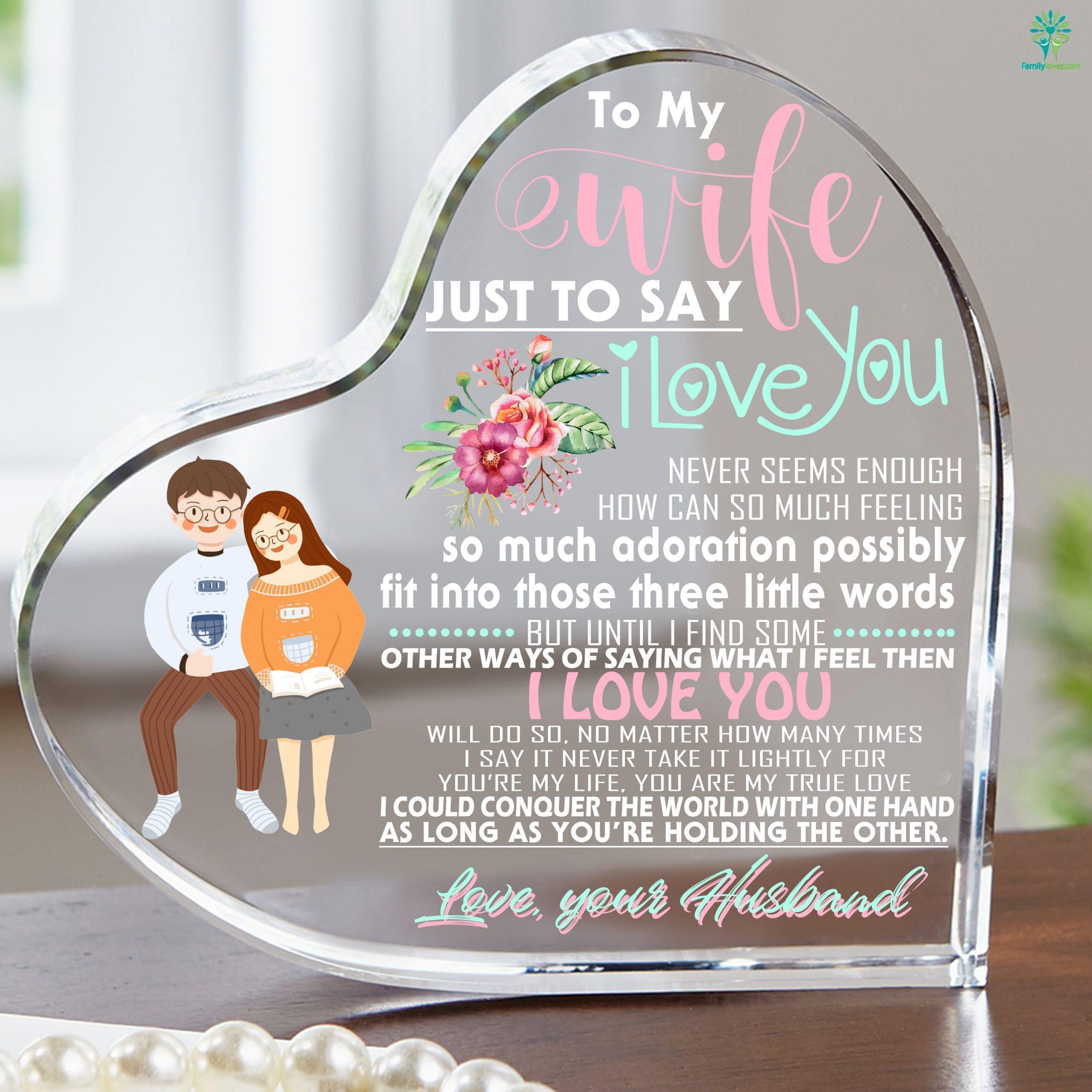 For My Wife Gifts Heart Keepsake Familyloves.com