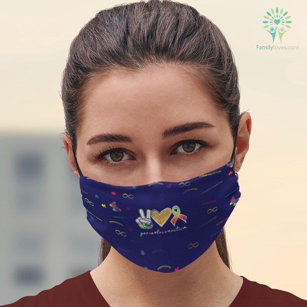 Autism Meaning Peace Love Autism Puzzle Pieces Ribbon Autism Awareness T-Shirt Autism Types Facemask 3D Familyloves.com