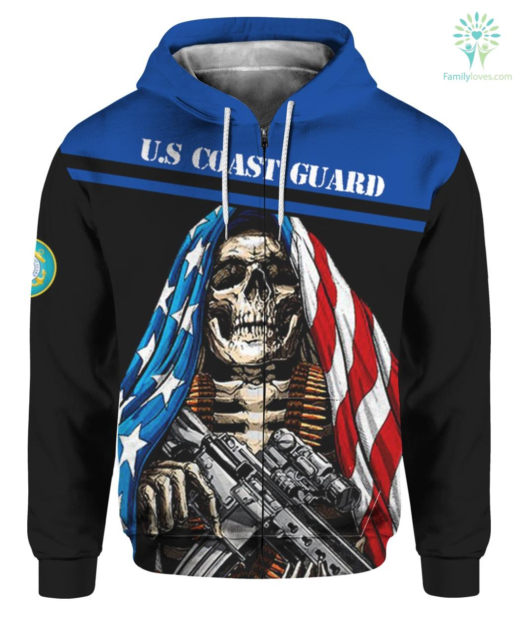 U.S COAST GUARD CLOTHING- 3D PRINTED SKULL WITH FLAG Familyloves.com