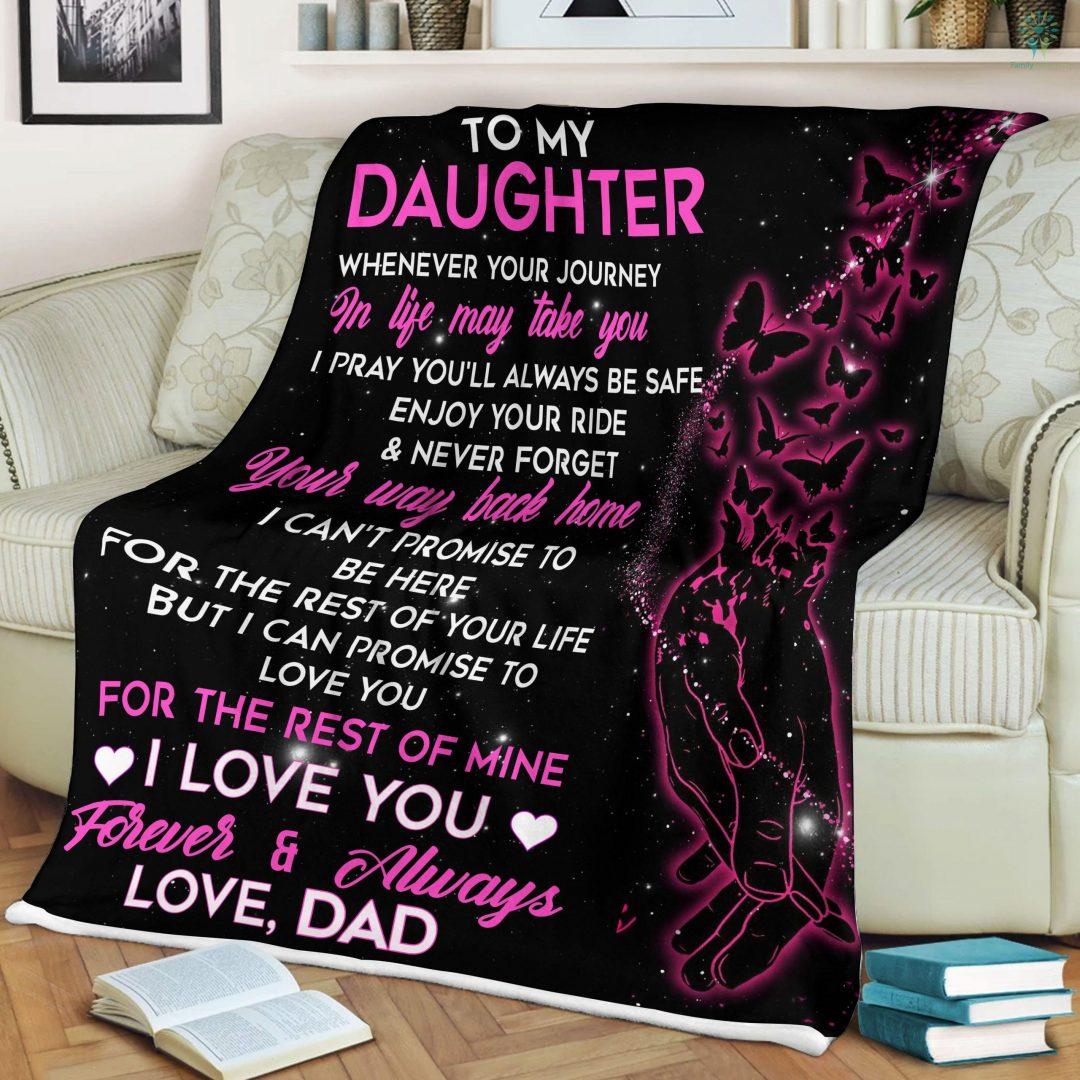 To My Daughter-Love Dad Sherpa Fleece Blanket Familyloves.com