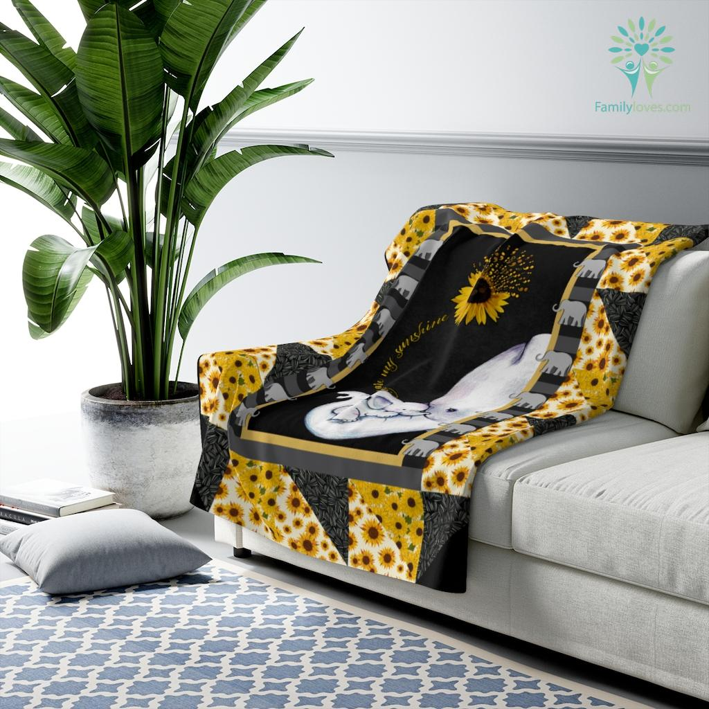 Elephant Sunflower Mom You Are My Sunshine Sherpa Fleece Blanket Familyloves.com