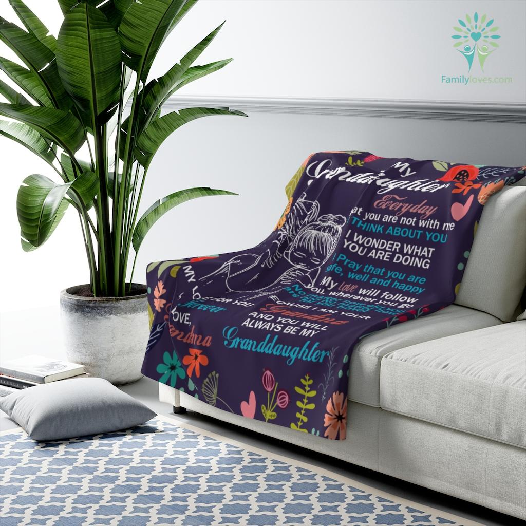 To My Granddaughter I Am Your Grandma Sherpa Fleece Blanket Familyloves.com