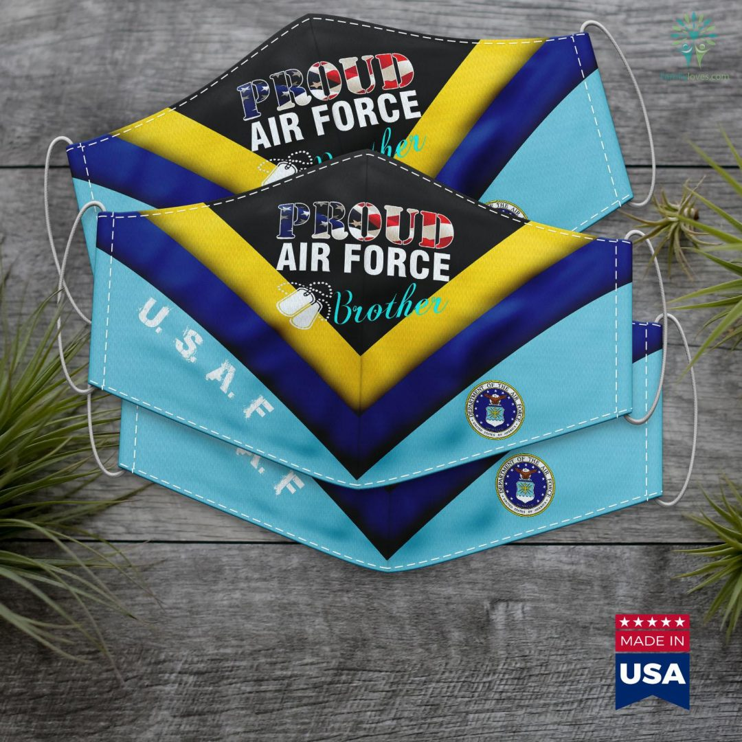 Air Force Info Proud Air Force Brother With American Flag Veteran Face Mask Gift Familyloves.com