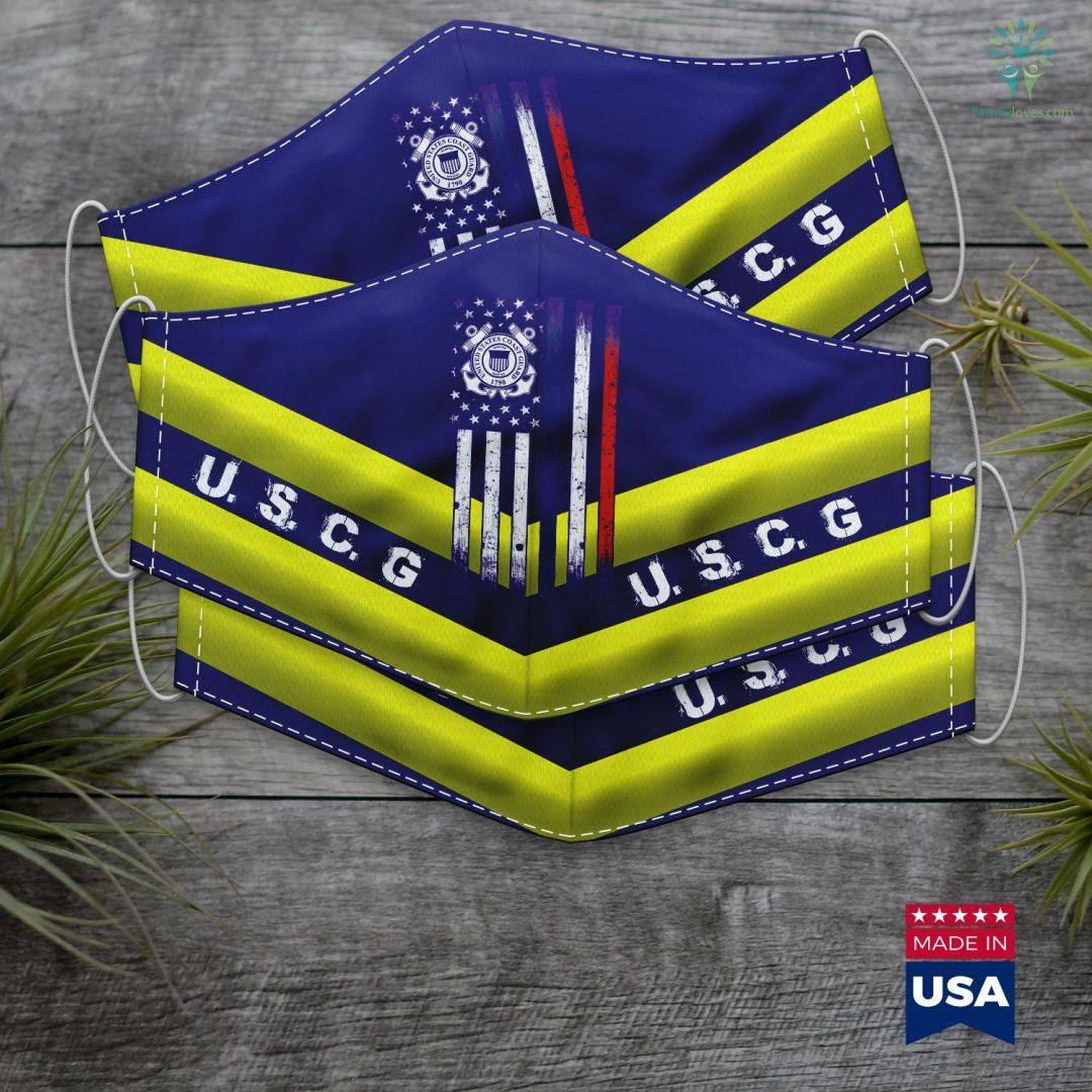 United States Coast Us Coast Guard American Flag Face Mask Gift Familyloves.com