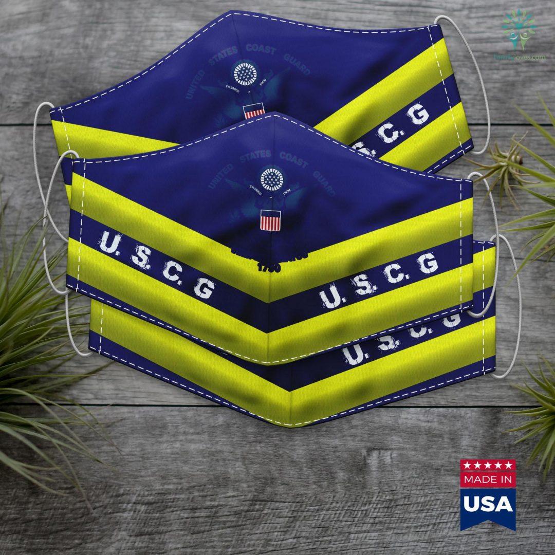 Us Army National Guard United States Coast Guard Uscg Logo Police Veteran Patriotic Face Mask Gift Familyloves.com