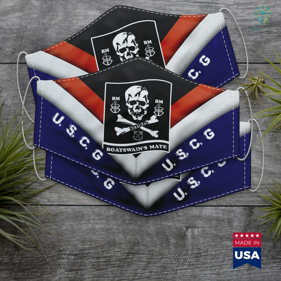 Us Coast Coast Guard Boatswains Mate Retired Bm Skull Flag Face Mask Gift Familyloves.com