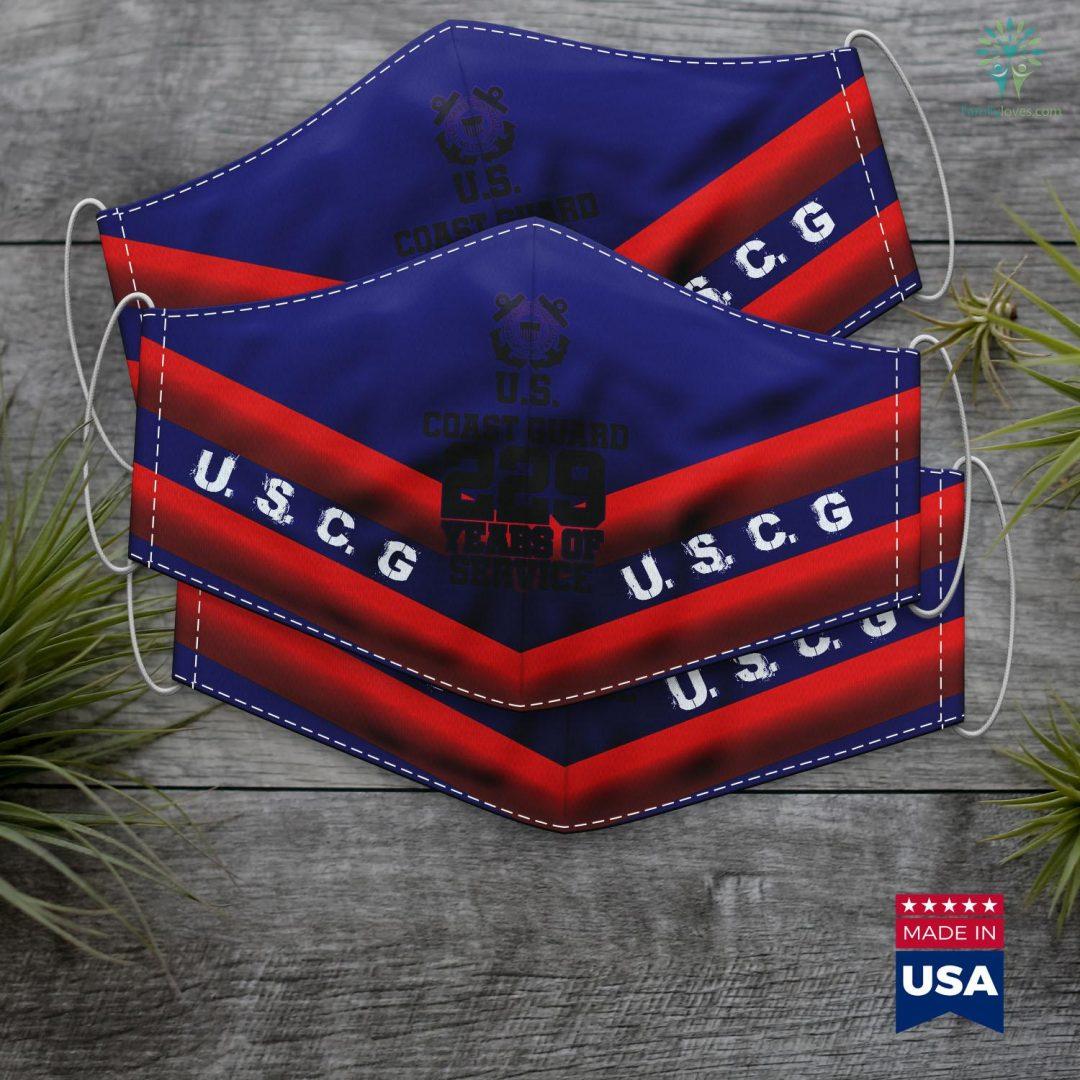 Us Coast Guard Academy Kids United States Coast Guard Uscg 229 Years Of Service Face Mask Gift Familyloves.com
