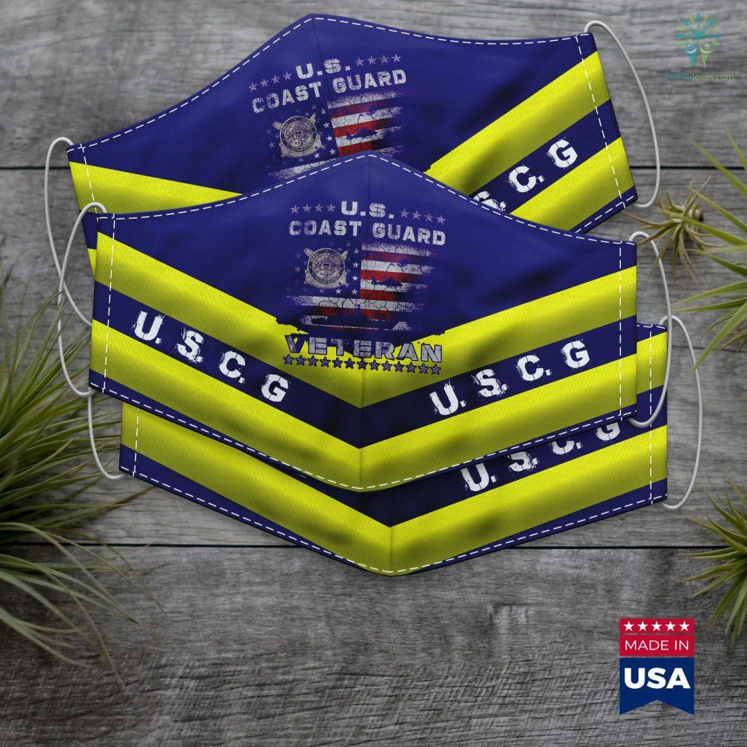 Us Coast Guard Academy U.S. Coast Guard Veteran Vet Uscg Vintage Face Mask Gift Familyloves.com