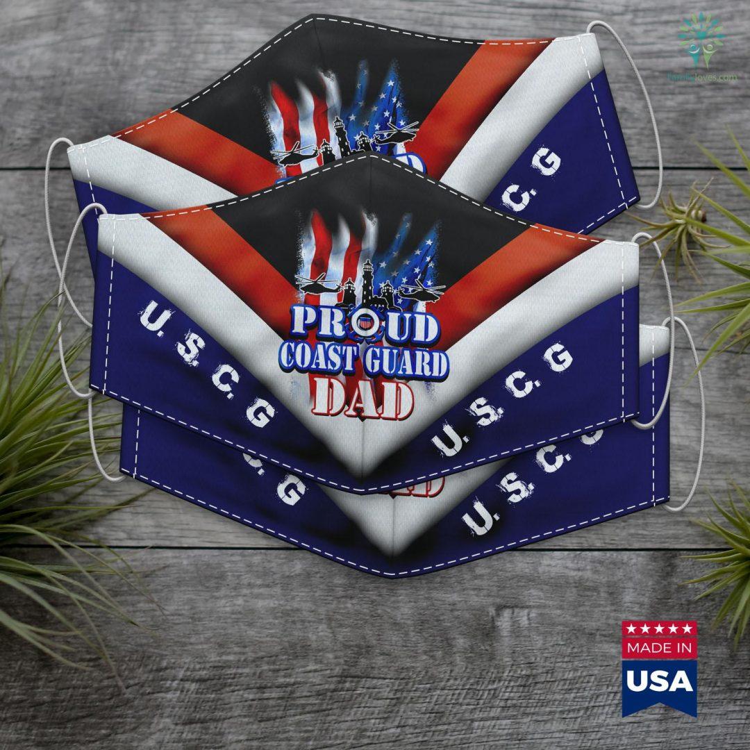 Us Coast Guard Documentation Coast Guard Dad Usa Flag Military Fathers Day Face Mask Gift Familyloves.com