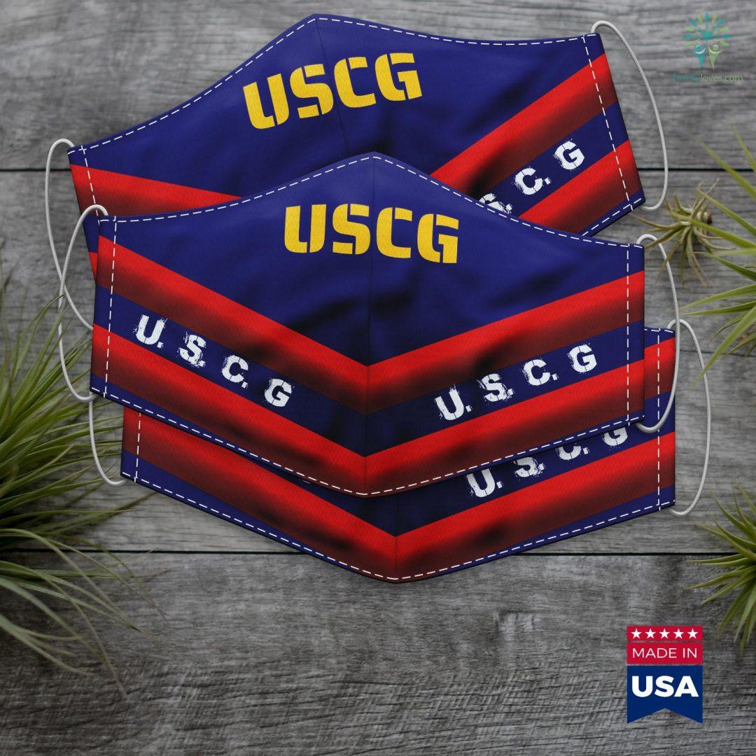 Us Coast Guard Locations Modern Uscg Us Coast Guard Stencil Gold Text Face Mask Gift Familyloves.com