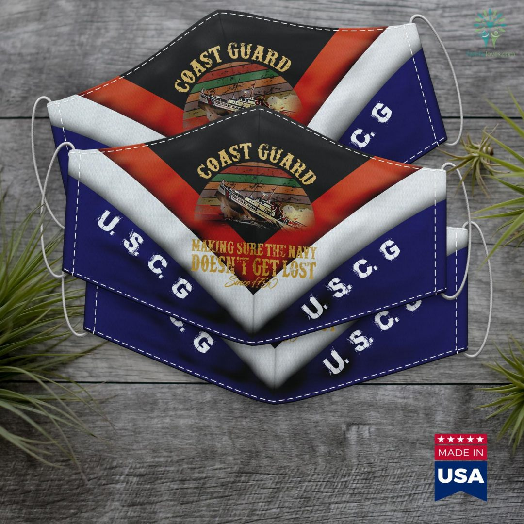 Us Coast Guard Recruiting Office Coast Guard Making Sure The Navy Doesnt Get Lost Face Mask Gift Familyloves.com