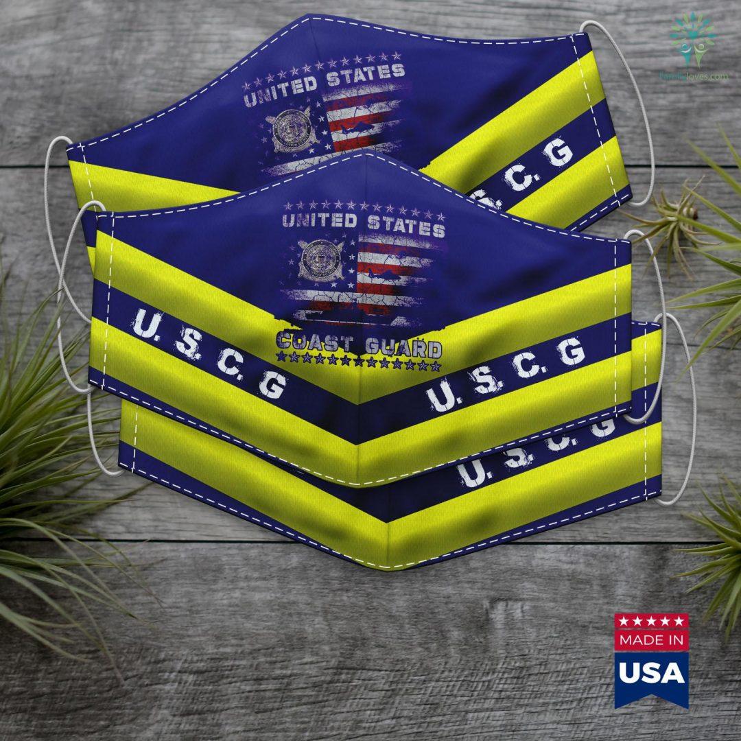Us Coast Guard Seal U.S Coast Guard Uscg Veteran Vintage Mens Face Mask Gift Familyloves.com