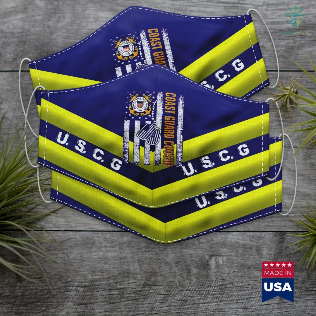 Us Coast Guard Seattle Vintage Coast Guard Cousin American Flag Veteran Day Gift Face Mask Gift Familyloves.com