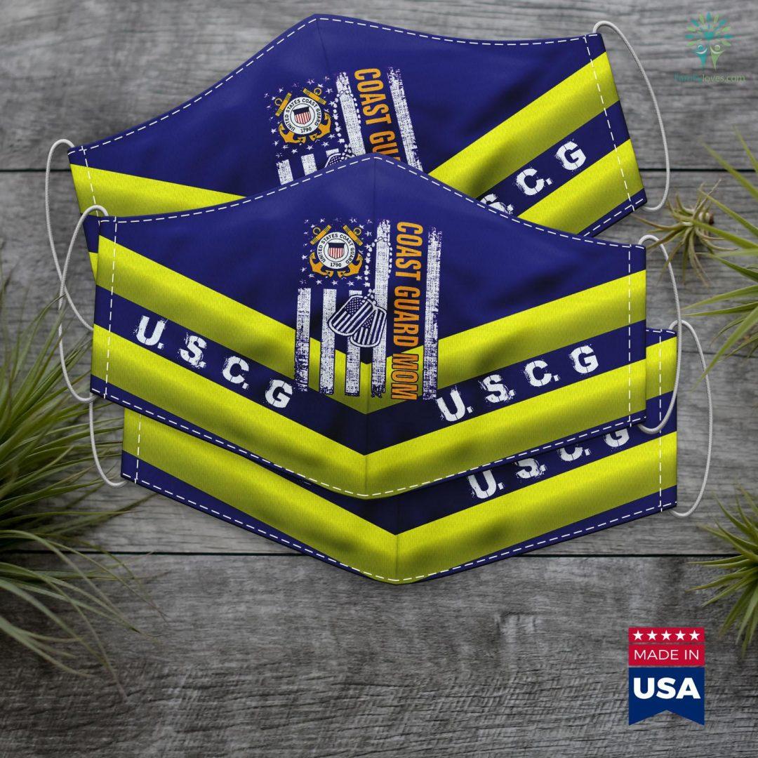 Us Coast Guard Vessels Vintage Coast Guard Mom American Flag Cool Veteran Day Gift Face Mask Gift Familyloves.com