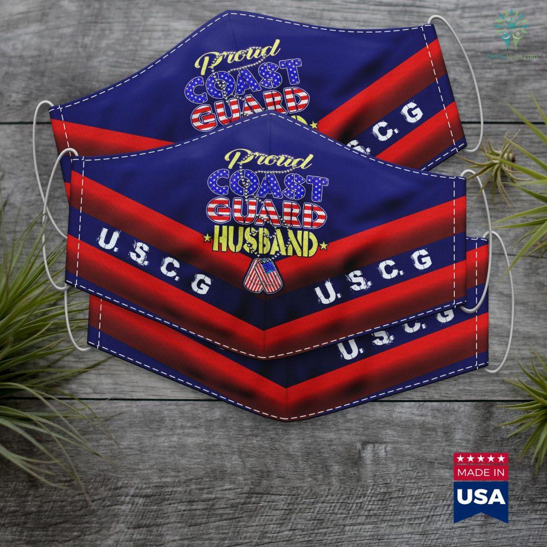 Uscg Academy Mens Proud Us Coast Guard Husband Us Flag Dog Tag Military Spouse Face Mask Gift Familyloves.com