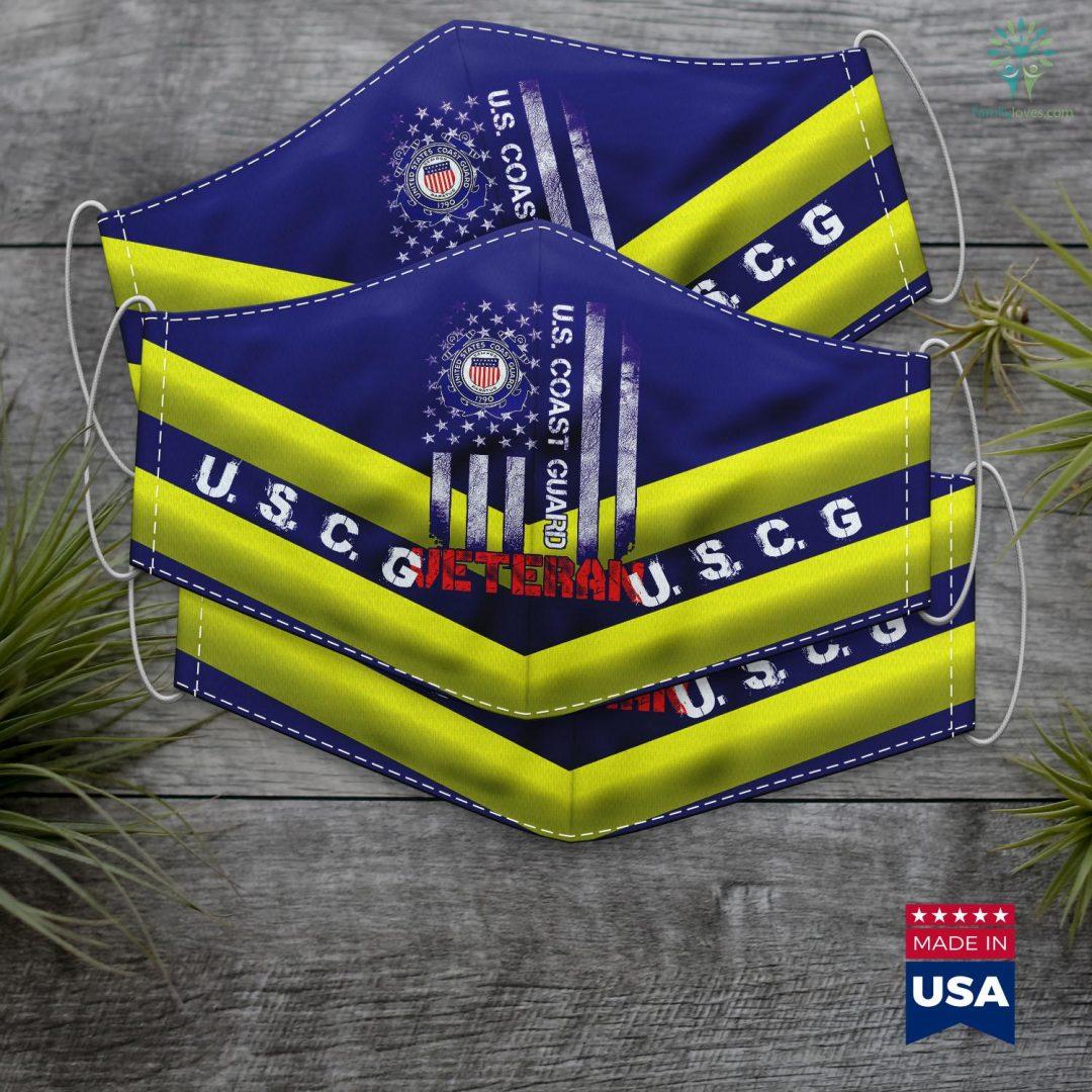 Uscg Logo Us Coast Guard Veteran Uscg American Flag Gift Face Mask Gift Familyloves.com