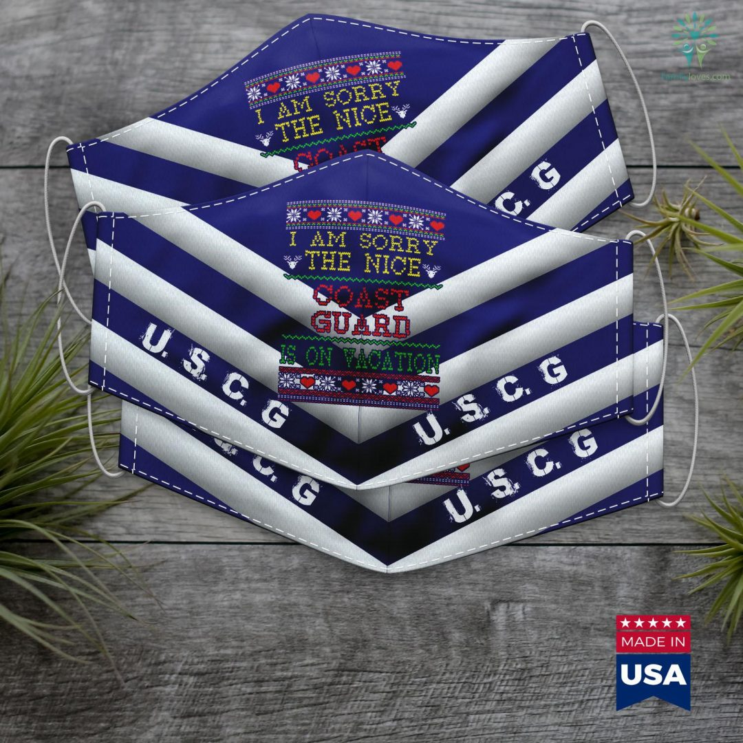 Uscg News Im Nice Coast Guard Ugly Christmas Face Mask Gift Familyloves.com