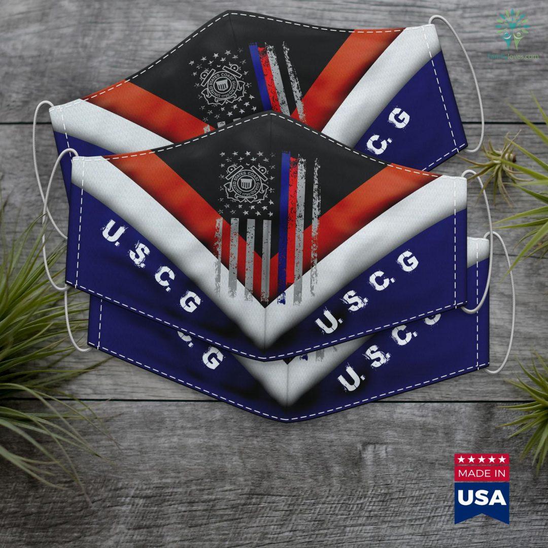 Uscg Portal American Flag Grunge Us Coast Guard Face Mask Gift Familyloves.com