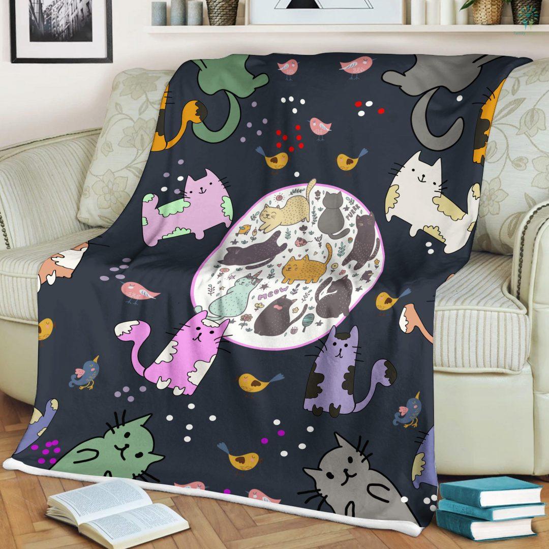 Kitten Cat Pattern Print Sherpa Fleece Blanket Familyloves.com