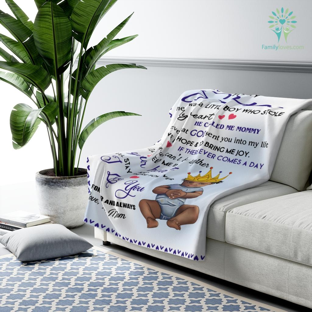 To My Son There Was A Little Boy Who Stole My Heart Love Mom Sherpa Fleece Blanket Familyloves.com