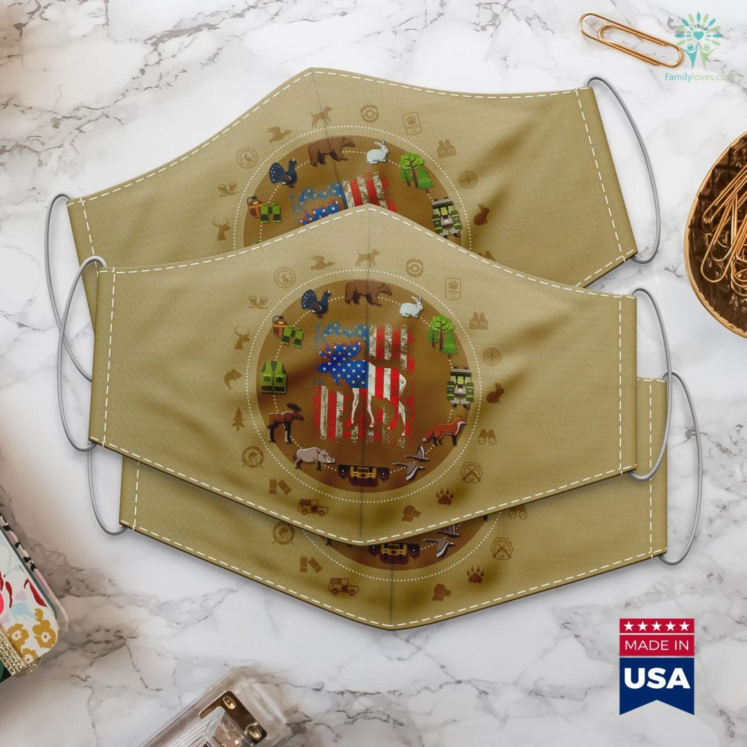 Ct Deep Hunting Moose American Flag Usa Men Hunting Vintage Tee Gift Cloth Face Mask Gift Familyloves.com