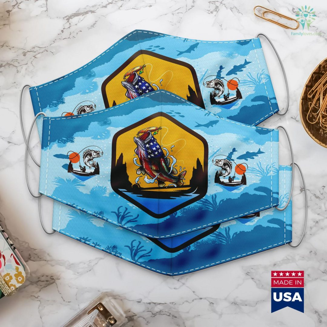 Ff14 Fishing Leves Bass Fishing Fish Angler Dad Father Gift American Flag Cloth Face Mask Gift Familyloves.com