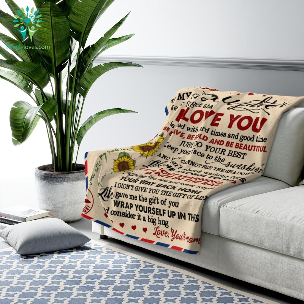To My Daughter - Never Forget That I Love Your Mom Sherpa Fleece Blanket Familyloves.com