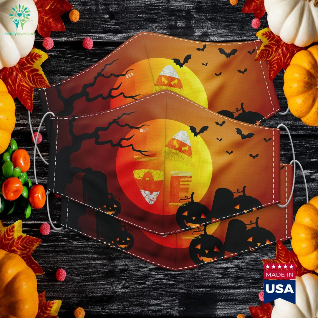 Candy Corn Cute Halloween Love Gift For Mom Teen Girl Youth Halloween Masks Cloth Face Mask Gift Familyloves.com