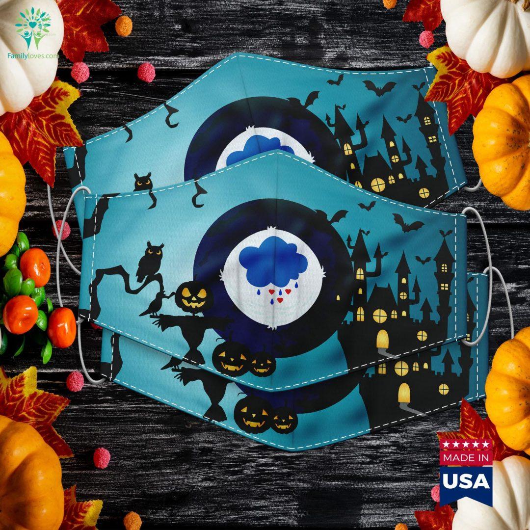 Grumpy Bear Family Costume Halloween Edition Mens Womens Halloween Font Cloth Face Mask Gift Familyloves.com