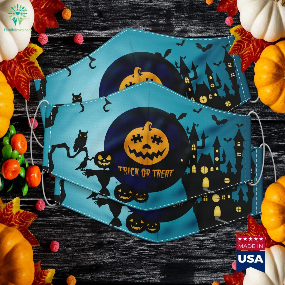 Halloween Autism Awareness Trick Or Treat Pumpkin Halloween Zombie Props Cloth Face Mask Gift Familyloves.com