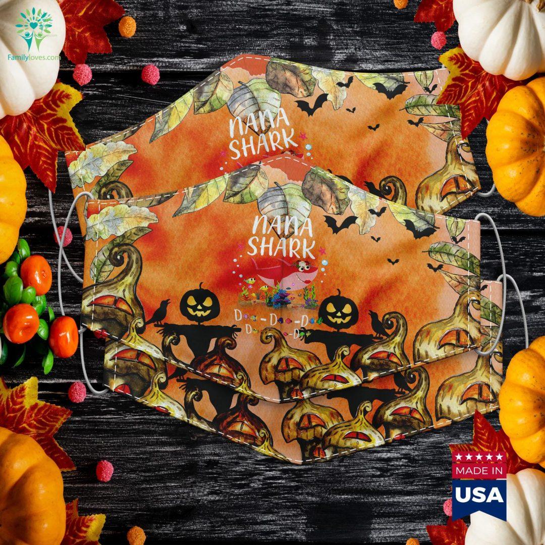 Nana Shark Mother Grandma Halloween Christmas Halloween Face Mask Cloth Face Mask Gift Familyloves.com