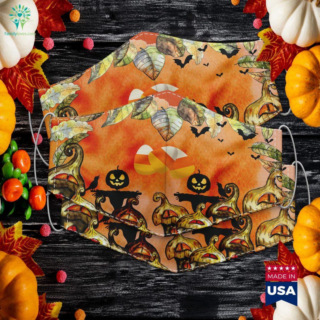 Orange Yellow White Happy Halloween Candy Corn Halloween Garland Cloth Face Mask Gift Familyloves.com