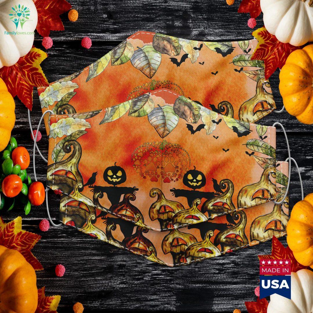 Paw Print Pumpkin Halloween Halloween Costume Halloween Chronicles Monsters Among Us Cloth Face Mask Gift Familyloves.com