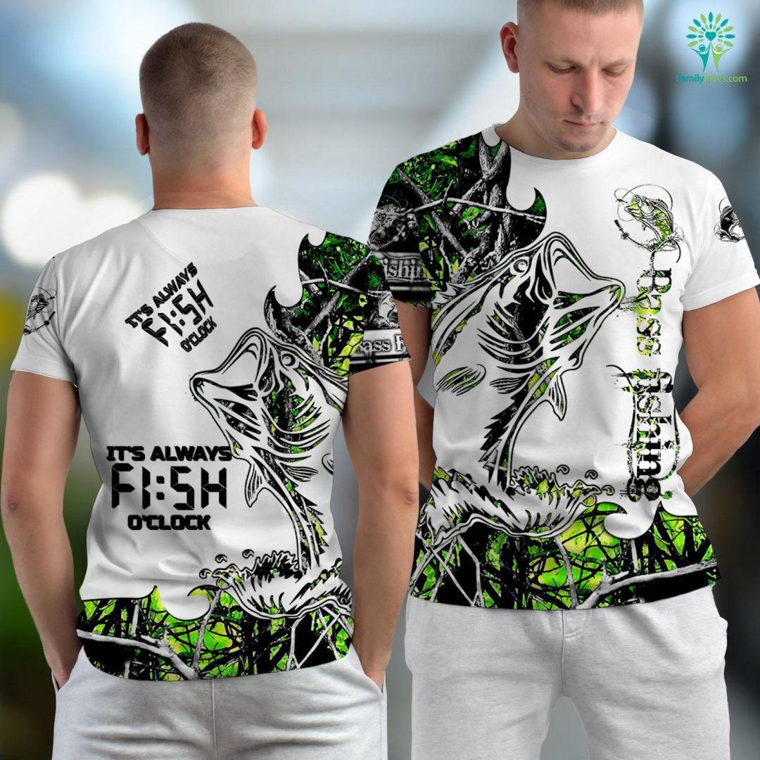 Maine Fly Fishing Its Always Fish Oclock Fishing Gift Fishing Unisex T-shirt All Over Print Familyloves.com