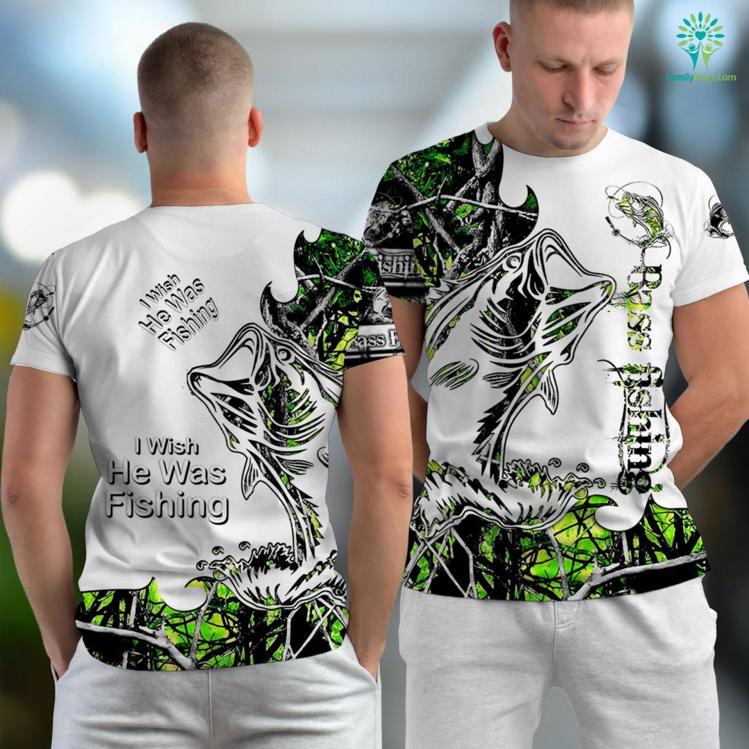 Naples Fishing Charters I Wish He Was Fishing Funny Gift Fishing Unisex T-shirt All Over Print Familyloves.com