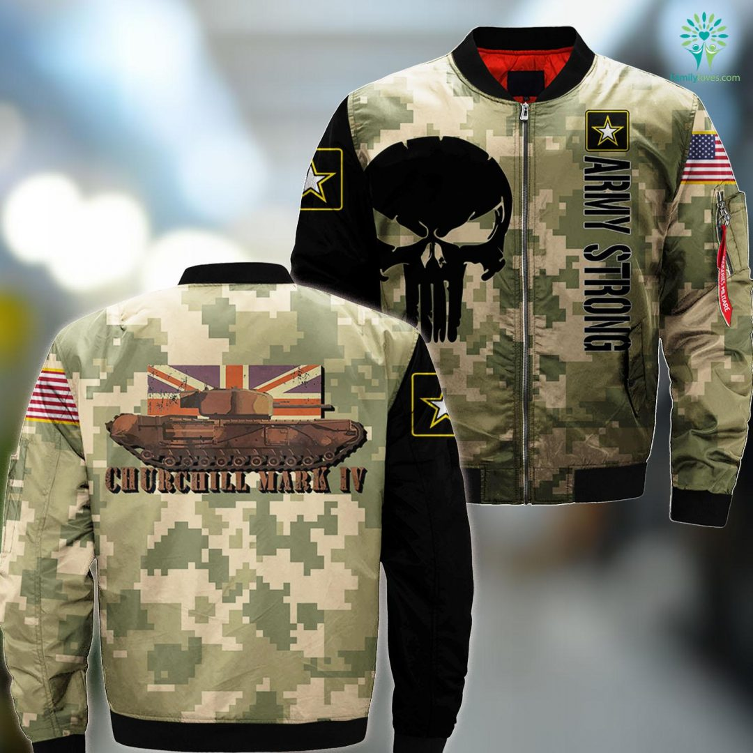 Us Army Multicam Churchill Tank Gift Ww2 Infantry Iv British Army Tee MA1 Bomber Jacket All Over Print Familyloves.com