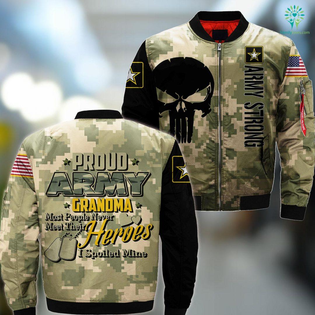 Us Army Theme Song Proud Army Grandma Super Cool Grandma Army Veteran Tee MA1 Bomber Jacket All Over Print Familyloves.com